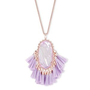 Betsy Rose Gold Long Pendant Necklace In Lilac MOP